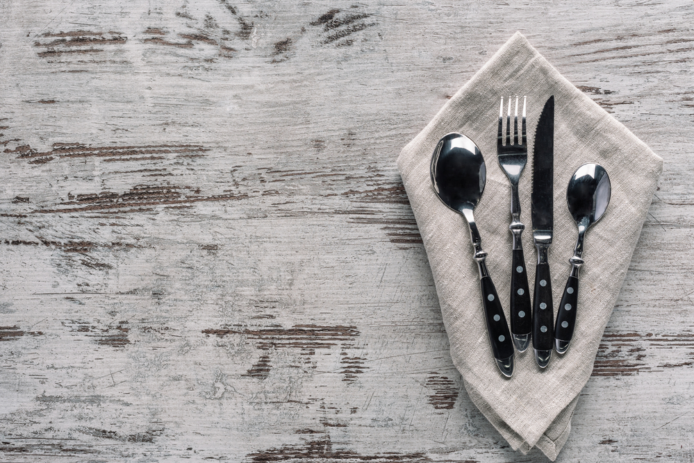 cutlery on napkin