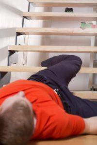 Man fallen down stairs