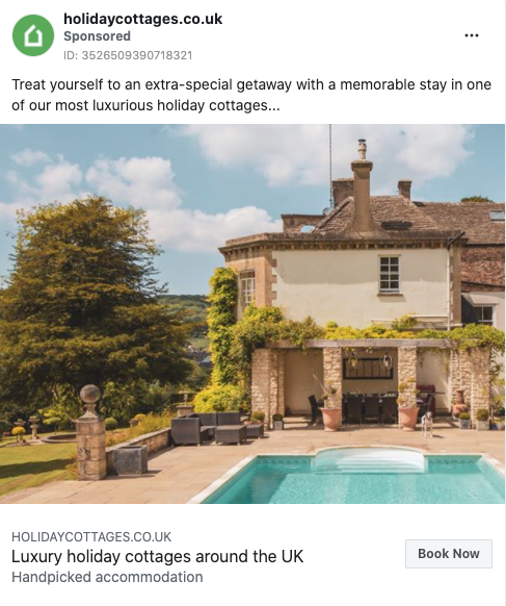 holiday cottage Facebook ad