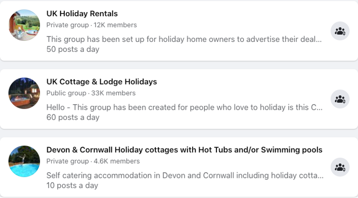Holiday rental Facebook groups